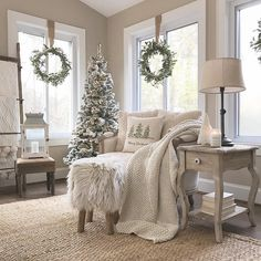 Wreaths in the window with neutral Christmas decor - Christmas - . - Wreaths in the window with neutral Christmas decor – Christmas – # wreaths # -