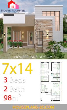 House Design 714 with 3 Bedrooms Terrace Roof House Plans Modern House Design bedrooms design House plans Roof terrace Single Floor House Design, Simple House Design, House Front Design, Tiny House Design, Modern House Design, Bungalow Haus Design, Bungalow House Plans, Dream House Plans, Small House Plans