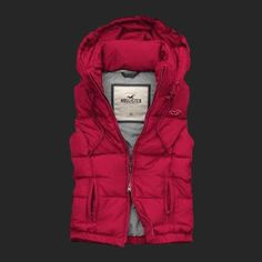 Hollister Womens Down Vest With Cap Rose Red