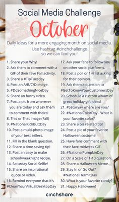 our FREE October Social Media Challenge so you can plan ahead, be consistent and have great engagement all month long! Be sure to share with your teams and use the hashtag so we can find you! Social Media Challenges, Social Media Calendar, Social Media Content, Social Media Tips, Photo Challenges, Social Media Games, Facebook Marketing, Marketing Digital, Social Media Marketing