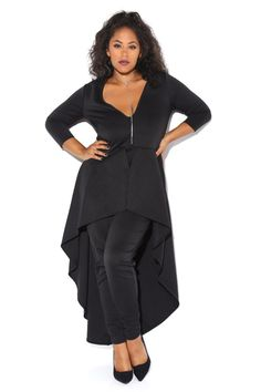 A plus size jumpsuit with a scooped neckline and 3/4 sleeves. Features a cinched waist and skinny pants. A ruffled peplum with a high-low hem. Solid allover.