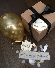Gold-Will you be my bridesmaid Pop the balloon by MySouthernSpirit