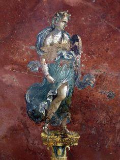 Maenad with thyrsus and tambourine. Pompeii, Archaeological Park of Pompeii, Great Gymnasium (Pompei, Parco Archeologico di Pompei) Ancient Rome, Ancient Art, Ancient History, Roman History, Art History, Greek Mythology Art, Pompeii And Herculaneum, Classical Antiquity, Roman Art