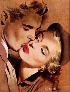 pin up girl kissing Romance Vintage, Romance Arte, Vintage Art, Vintage Kiss, Wedding Vintage, Vintage Music, Arte Pop, Arte Do Pulp Fiction, Desenho Pop Art