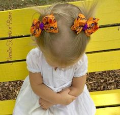 Girls Halloween Pigtail Hair Bows, Baby Girls Ribbon Bow Clippies, Halloween Spider Hair Bows, Pigtail Bows