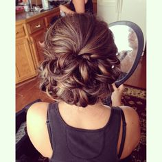 Bridal Hair | Wedding Hair | Low Curled Bun | Full Bun | Brunette Hair | Curled Updo | Wedding Hairstyle | Prom Hair