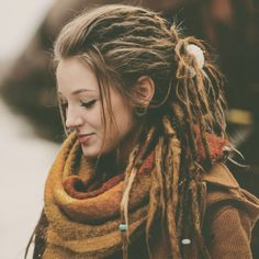 Find images and videos about hippie, dreads and dreadlocks on We Heart It - the app to get lost in what you love. Half Dreads, Partial Dreads, Dreads Styles, Curly Hair Styles, Dreadlock Hairstyles, Cool Hairstyles, Natural Hairstyles, Half Dreaded Hair, White Girl Dreads