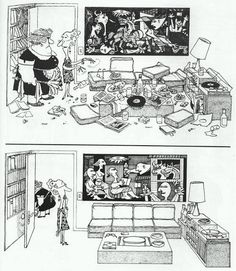 "Picasso's ""Guernica"" before & after the tidying up. [ by Argentinian cartoonist Quino ] Picasso Guernica, Pablo Picasso, Maurice Sendak, Painting & Drawing, Rock Kunst, Spanish Humor, Ap Spanish, Bd Comics, Comics"