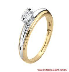Anillo con diamante corte brillante de 20 puntos, es de oro amarillo y blanco ideal para quien gusta de los dos oros
