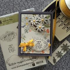 """I was so inspired by the designer's cards at the Tic Tac Toe challenge this week, I wanted to get my project in early. It was the """"yellow"""" square that caught my eye, because I had the most beautiful Daffodil Delight ribbon I wanted to use. I usually stick with Baker's Twine and Linen Thread, …"""