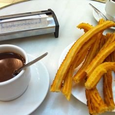 churros & hot chocolate ... Madrid, Spain