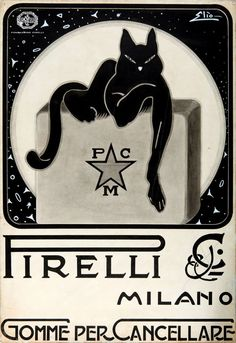 "Vintage Poster wasser-bumser: ""Pirelli ad for their erasers (undated, probably late or early "" - Poster Art, Retro Poster, Kunst Poster, Art Deco Posters, Vintage Italian Posters, Vintage Advertising Posters, Vintage Advertisements, Vintage Ads, Cat Posters"