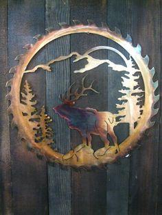 Elk Sawblade Mountain Scene, Metal art, Fathers day gift, gift for men, elk theme, hunting, mothers day gift