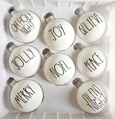 Rae Dunn inspired Christmas ornaments - Happy Christmas - Noel 2020 ideas-Happy New Year-Christmas Noel Christmas, Christmas Signs, Diy Christmas Ornaments, Country Christmas, Winter Christmas, Christmas Decorations, Ornaments Ideas, White Ornaments, Buffalo Check Christmas Decor