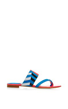 Nyla Suede and Patent-Leather Sandals by Paul Andrew