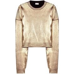 Saint Laurent Metallic Sweatshirt (1,174,525 KRW) ❤ liked on Polyvore featuring tops, hoodies, sweatshirts, gold, gold top, metallic top, gold metallic top, beige top and beige sweatshirt