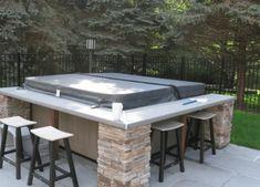 Outdoor Kitchen Countertops, Outdoor Kitchen Bars, Outdoor Kitchen Design, Patio Kitchen, Kitchen Counters, Outdoor Kitchens, Concrete Countertops, Hot Tub Gazebo, Hot Tub Backyard