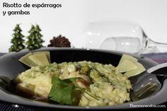Risotto espárragos y gambas en thermorecetas.com #risotto #recetas #thermomix