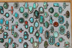 An entire tray of vintage Native American sterling silver rings. Which one would you pick?
