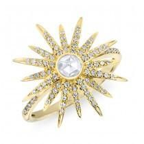 Sunburst Ring in 14k Yellow Gold - HELLO SUMMER!  THIS GORGEOUS RING FEATURES A ROSE CUT CENTER STONE SURROUNDED BY A SUNBURST OF PAVE SET DAZZLING DIAMONDS!