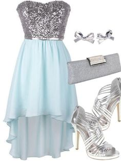 High Low Silver Sequins Light Blue Chiffon Party Dress Evening Gowns Prom Dresses For Summer Girls - Thumbnail 2 Cute Prom Dresses, Plus Size Prom Dresses, Dance Dresses, Homecoming Dresses, Pretty Dresses, Beautiful Dresses, Summer Dresses, Formal Dresses, Look Girl