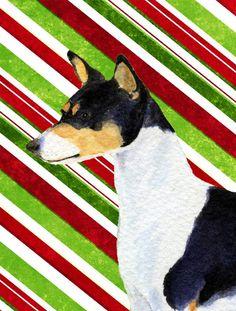 Basenji Candy Cane Holiday Christmas Flag Canvas House Size