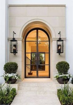 This entry is gorgeous. Love the doors! This entry is gorgeous. Love the doors! Door Design, Exterior Design, Interior And Exterior, Exterior Doors, Classic House Exterior, Luxury Homes Exterior, French Exterior, Stone Exterior, Interior Plants