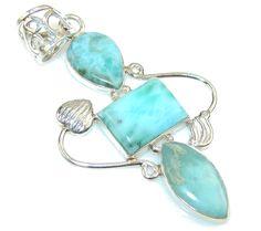 $52.99 Classy Blue Larimar Sterling Silver Pendant at www.SilverRushStyle.com #pendant #handmade #jewelry #silver #larimar