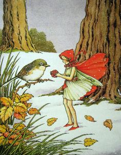 The Winter Fairy Came in the Snow ~ Ida Rentoul Outhwaite Snow Fairy, Winter Fairy, Vintage Fairies, Vintage Art, La Pieta, Kobold, Photo D Art, Fairytale Art, Australian Art
