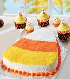 Candy Corn Cake Treats from @joannstores.  Make one giant piece of candy corn into a cake!
