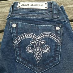 "Rock revival boot cut Adele jeans! Fleur de Lis on the back, upside down. Adele style boot cut jeans. Small on the inside waist. Inseam 32"". Rock Revival Jeans Boot Cut"