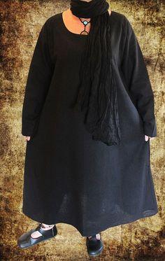 MEGA BAGGY LAGENLOOK LEINEN BALLON KLEID Long Tunika 46 48 50 SCHWARZ Kaftan NEU in Kleidung & Accessoires, Damenmode, Kleider | eBay