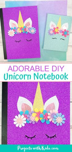 This DIY unicorn notebook is so easy to make and is absolutely adorable! The perfect unicorn craft for kids and tweens. Crafts The Most Adorable DIY Unicorn Notebook Paper Plate Crafts For Kids, Fun Crafts For Kids, Craft Activities For Kids, Diy For Kids, Paper Crafts, Diy Crafts For Tweens, Tween Craft, Unicorn Kids, Unicorn Crafts