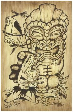 Items similar to Tiki Girl - signed Art Print by Shawn Dickinson on Etsy Tiki Maske, Disney Poster, Tiki Tattoo, Totem Tattoo, Tiki Art, Tiki Tiki, Tiki Head, Image Deco, Tiki Totem