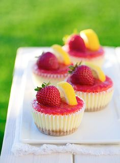 Strawberry Lemonade Cheesecake Cupcakes. **Would add a little more sugar to the sauce.**