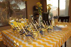 Navy blue & yellow chevron baby shower with mason jars and paper straws