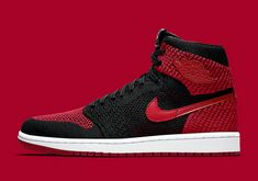 premium selection f3405 38eb8 2017 2018 Daily Authentic Cheap Air Jordan 1 Flyknit Black Varsity Red-white  Basketball Shoe For Sale