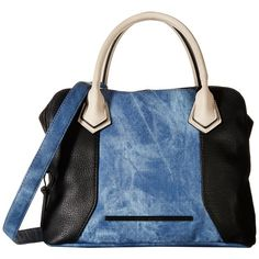 Steve Madden Bmaya (Black/Denim/Bisque) Satchel Handbags ($36) ❤ liked on Polyvore featuring bags, handbags, denim, blue, color block handbag, steve madden handbags, blue hand bag, man bag and purse satchel