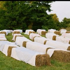 Hay bales for seats.