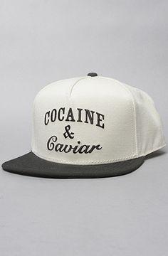 The Coca Caviar Snapback Hat in White & Black