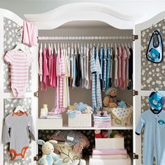 Baby Armoir - I'm in LOVE with this organization idea!  Now I need to find/make this armoir....
