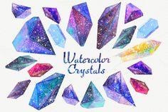 Watercolor crystals with universe by librebird on Creative Market