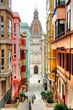 Colorful views in La Coruña. This beautiful city in Galicia is a must see. Places Around The World, The Places Youll Go, Travel Around The World, Places To Visit, Around The Worlds, Valencia, Wonderful Places, Beautiful Places, Madrid