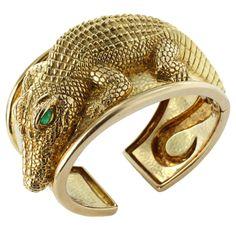 Unique Alligator Cuff Bracelet by DAVID WEBB   From a unique collection of vintage cuff bracelets at http://www.1stdibs.com/jewelry/bracelets/cuff-bracelets/