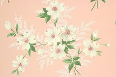 1940s Vintage Wallpaper White Dogwood Flowers on Pink by the