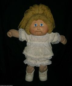 Vintage Cabbage Patch Kids Baby Doll Blonde Hair Girl Stuffed Animal Plush Toy C | eBay
