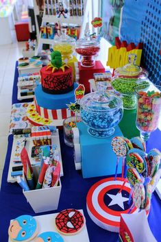 Superheroes Birthday Party Ideas - so many great ideas here for a candy buffet for kids!