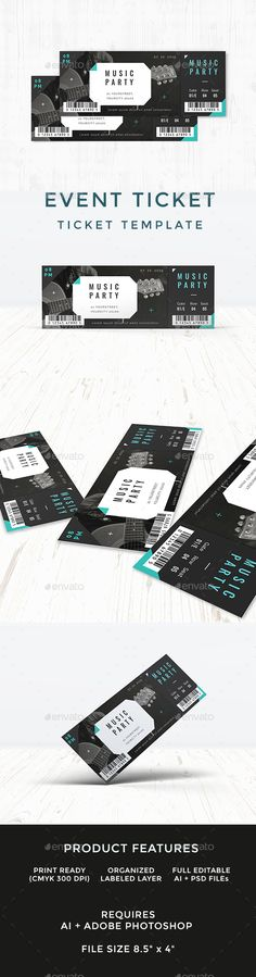 Ticket Ticket template, Event ticket and Print templates - event ticket template free download