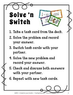 Solve 'n Switch Partner Activity Solve 'n Switch cooperative learning strategy from Laura Candler ~ Brilliant twist on using task cards!Solve 'n Switch cooperative learning strategy from Laura Candler ~ Brilliant twist on using task cards! Cooperative Learning Strategies, Teaching Strategies, Teaching Tips, Teaching Math, Cooperative Games, Instructional Strategies, Math Activities, Fun Math, Leadership Activities