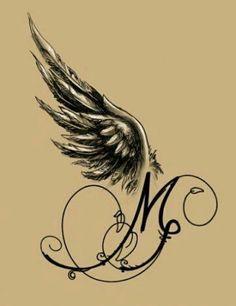 Angel-winged M - Tattoo Design, - Michelle Bohny . tatuagem tatuagem cascavel tatuagem de rosa tatuagem delicada tatuagem e piercing manaus tatuagem feminina tatuagem moto clube tatuagem no joelho tatuagem old school tatuagem piercing tattoo shop Mom Tattoos, Trendy Tattoos, Popular Tattoos, Sexy Tattoos, Body Art Tattoos, Small Tattoos, Tattoos Skull, Bird Tattoos, Celtic Tattoos